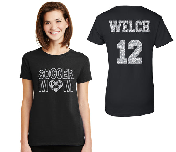 Soccer Mom Glitter Design Womens Soft Style Cotton Tee Shirt Soccer Spirit Wear Glitter Bling Design Mother Futbol Any color combination