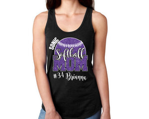 Custom Personalized Softball Mom Glitter Womens Tank Top Support Your Team Daughter Any Number Any Colors Lets Play Ball Spirit Wear