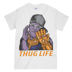 Thanos Thug Life Funny White Graphic Tee Shirt - Avengers