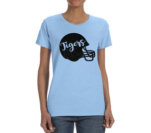 Eisenhower Tigers Glitter Football Helmet Columbia Blue Women's Tee Shirt