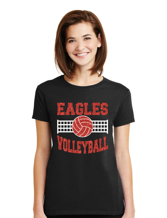 Custom Volleyball Glitter Design Cotton Women's Crew Neck Tee Shirt