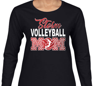 Glitter Volleyball Mom with Custom Team Name Long Sleeve Tee Shirt