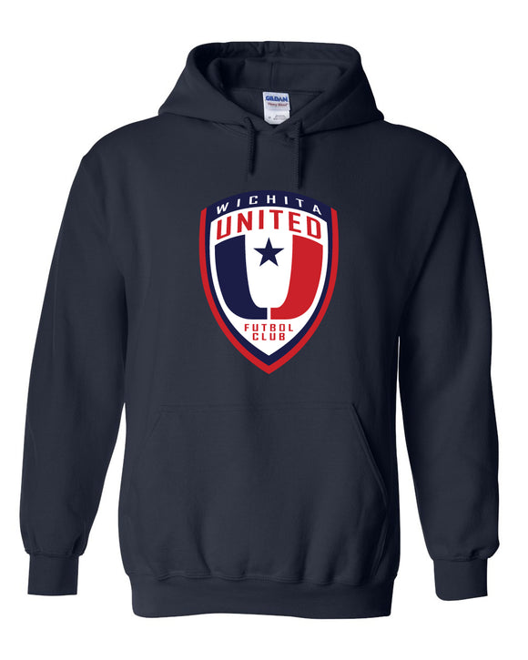 Navy Hooded Sweatshirt with the Wichita United Logo