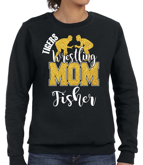 WRESTLING MOM GLITTER DESIGN CREW NECK SWEAT SHIRT WITH TEAM AND WRESTLER NAME