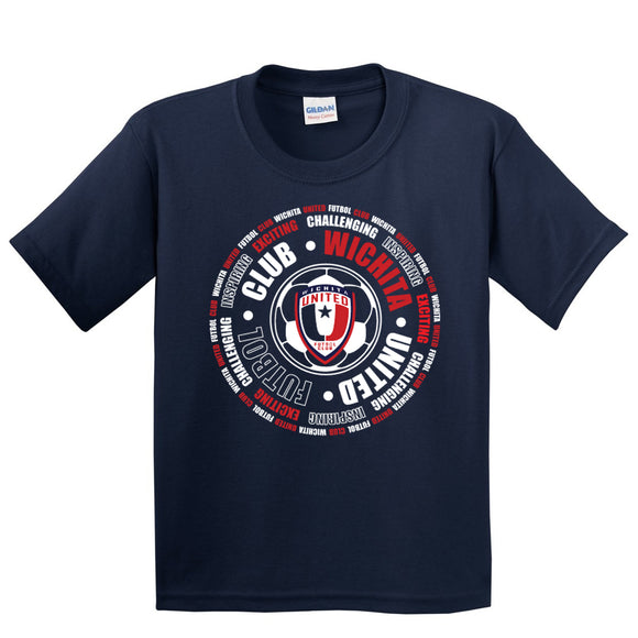 Youth Navy Wichita United Circle Design on Cotton Tee Shirt