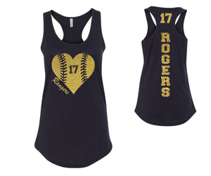 Custom Personalized Baseball Glitter Heart Womens Tank Top Support Your Team Any Number Any Colors Baseball Lets Play Ball Spirit Wear