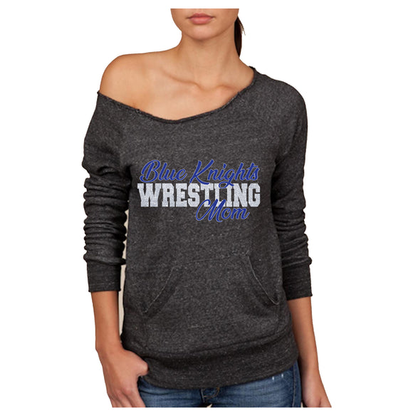 Blue Knights Wrestling Mom Women's Sponge Fleece Wideneck Slouchy Sweatshirt