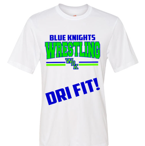Blue Knights Wrestling Performance Dri fit Unisex Tee Shirt- White