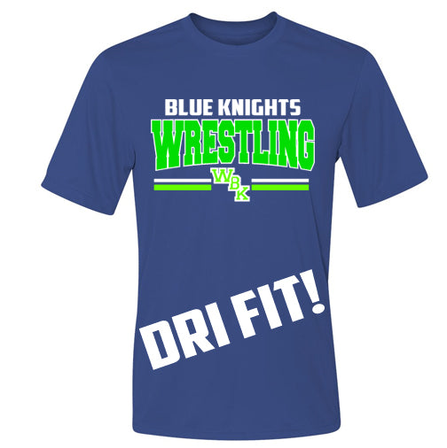 Blue Knights Wrestling Performance Dri fit Unisex Tee Shirt- Royal