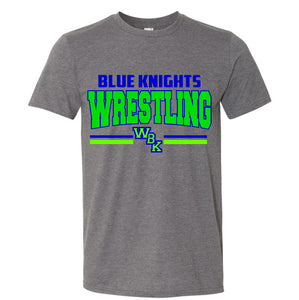 Blue Knights Wrestling Unisex Tee Shirt Soft and Comfy- Grey