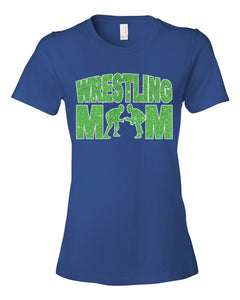 Blue Knights Wrestling Mom Glitter Design Cotton Women's Tee Shirt