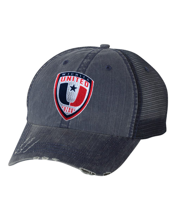 Navy Distressed Herringbone Unstructured Trucker Hat with WUFC Logo
