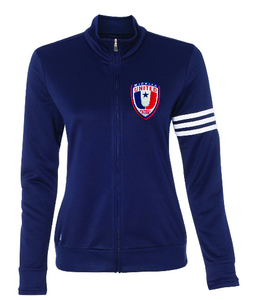 NEW Adidas Womens Navy French Terry Full-Zip Jacket with Embroidered Wichita United Patch