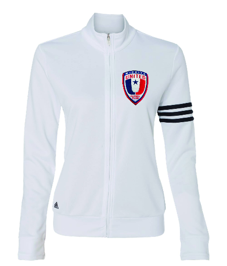NEW Adidas Womens White French Terry Full-Zip Jacket with Embroidered Wichita United Patch