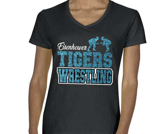 Eisenhower Tigers Wrestling Glitter Design Cotton Women's v-neck Tee Shirt