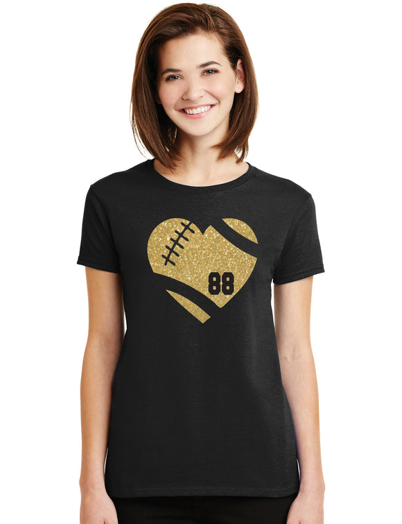 Amazing Football Heart Glitter Design Cotton Women's Tee Shirt with Ball Player's Number