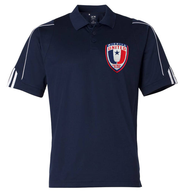 NEW Adidas Mens Navy ClimaLite® 3-Stripes Cuff Polo A76 with Embroidered Wichita United Patch