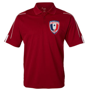 NEW Adidas Mens Red ClimaLite® 3-Stripes Cuff Polo A76 with Embroidered Wichita United Patch