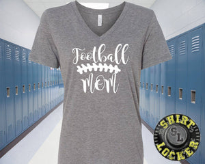 Football Mom Relaxed V-Neck Tee Shirt By Bella+Canvas