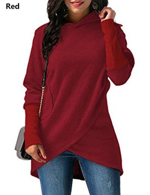 Fashion Womens Hoodie, Asymmetric long sleeves, Casual and Loose, Pullover Hooded sweatshirt.