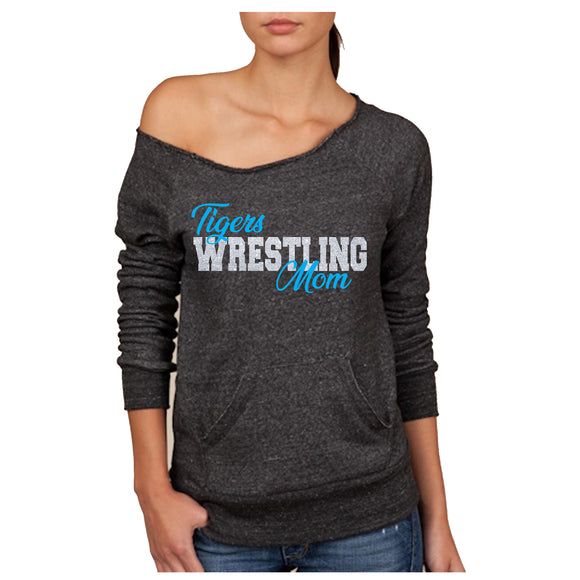 Tigers Wrestling Mom Women's Sponge Fleece Wideneck Slouchy Sweatshirt