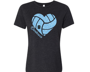 Eisenhower Tigers Volleyball Heart Glitter Design Cotton Women's Tee Shirt