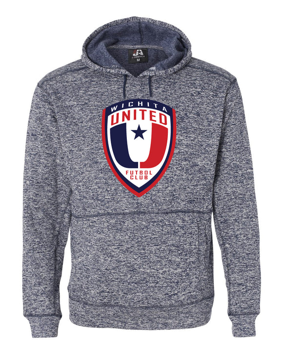 Navy Fleck Hooded Sweatshirt with the Wichita United Logo