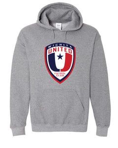 Grey Hooded Sweatshirt with the Wichita United Logo