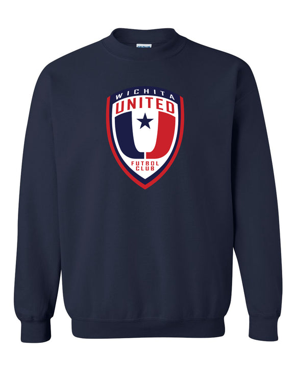 Navy crew neck Sweatshirt with the Wichita United Logo