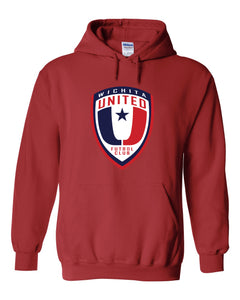 Red Hooded Sweatshirt with the Wichita United Logo