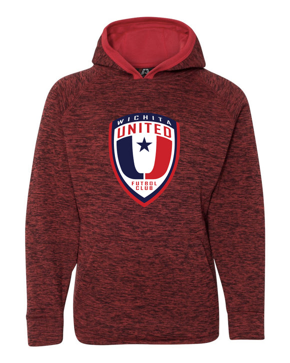 Youth Red Fleck Hooded Sweatshirt with the Wichita United Logo