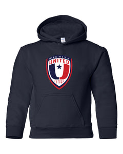 Youth Navy Hooded Sweatshirt with the Wichita United Logo
