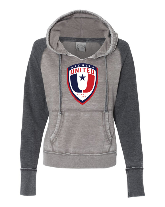 Zen Raglan hooded Sweatshirt with the Wichita United Logo