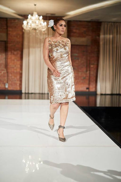 Bronze sequin dress with floral detailing - Vitamin Sonalika