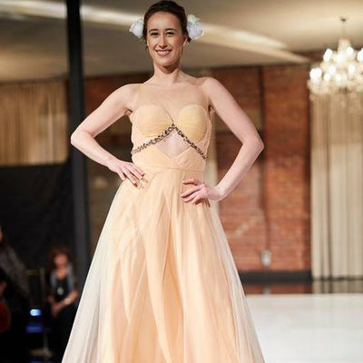 Peach strapless gown - Vitamin Sonalika