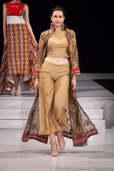 Beige crop top and pants with Indo-western cape - Vitamin Sonalika