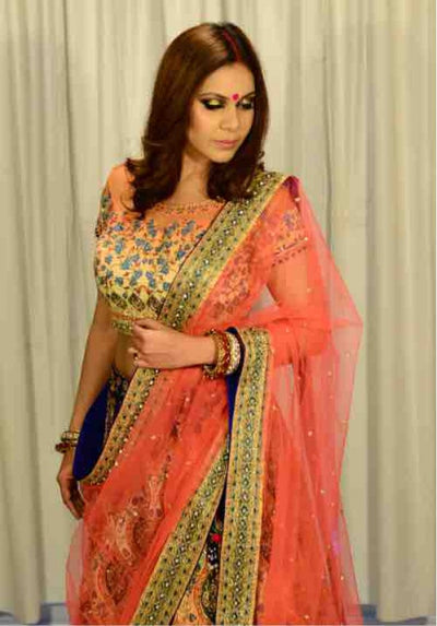 Orange & Peach Shaded Ghagra Choli - Vitamin Sonalika