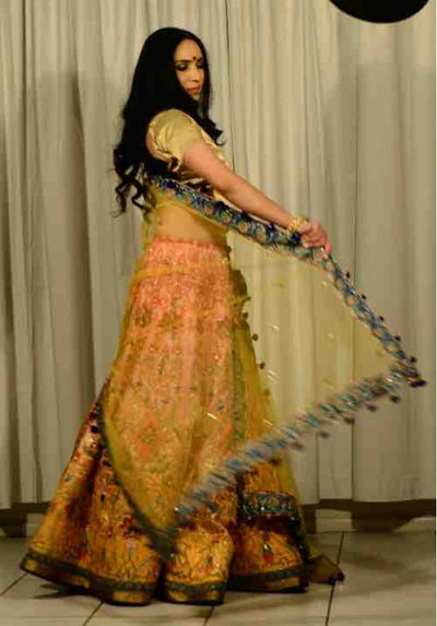 Peach and yellow & Gold Ghagra Choli - Vitamin Sonalika