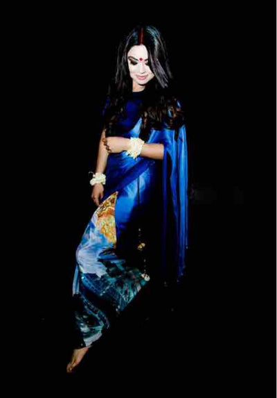Dark Blue Satin Saree - Vitamin Sonalika