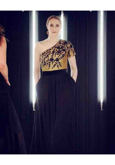 Black & Gold Long Dress - Vitamin Sonalika