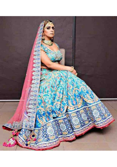 Blue & Pink Hand Embroidered Ghagra - Vitamin Sonalika