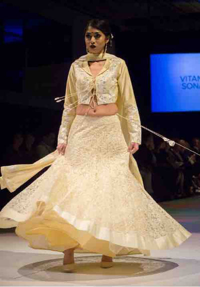 Light Lemon Yellow Ghagra Choli - Vitamin Sonalika
