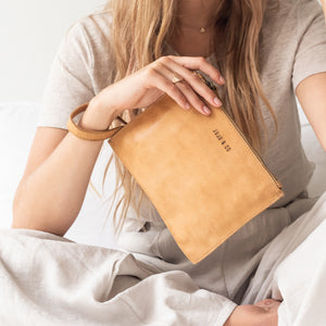 Natural Leather - Small Flat Pouch Purse (20cm x 15cm)
