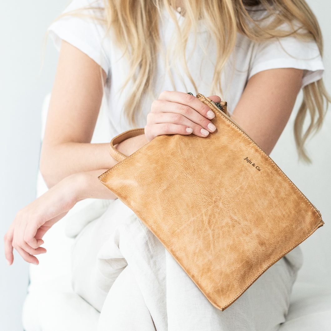 Natural Leather - Large Flat Pouch Purse (25cm x 20cm)