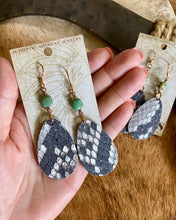 JForks Designs Natural Python Teardrop w/ Turquoise Earrings