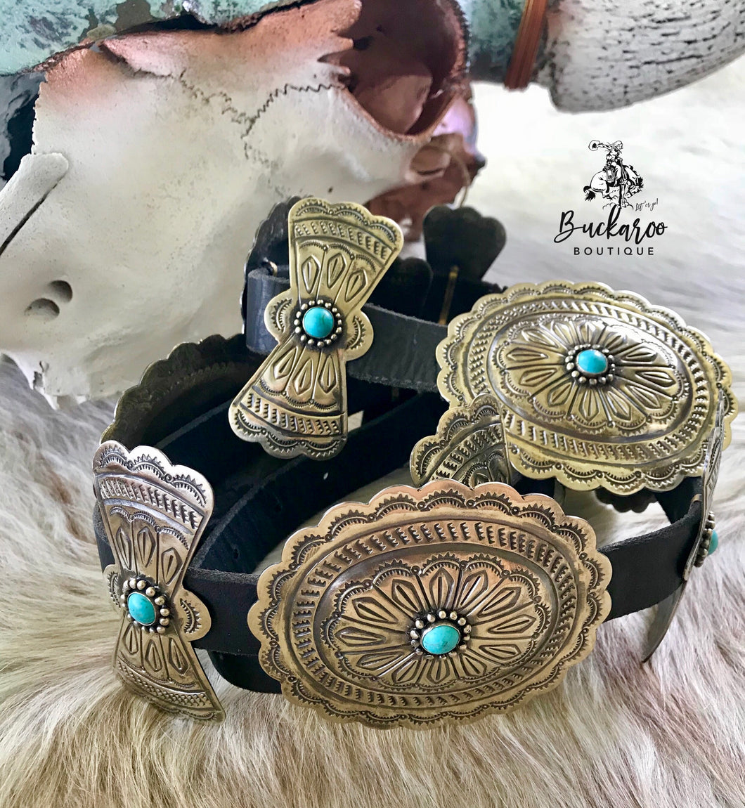 Classic Oval Conchos with Turquoise, Black Leather Belt