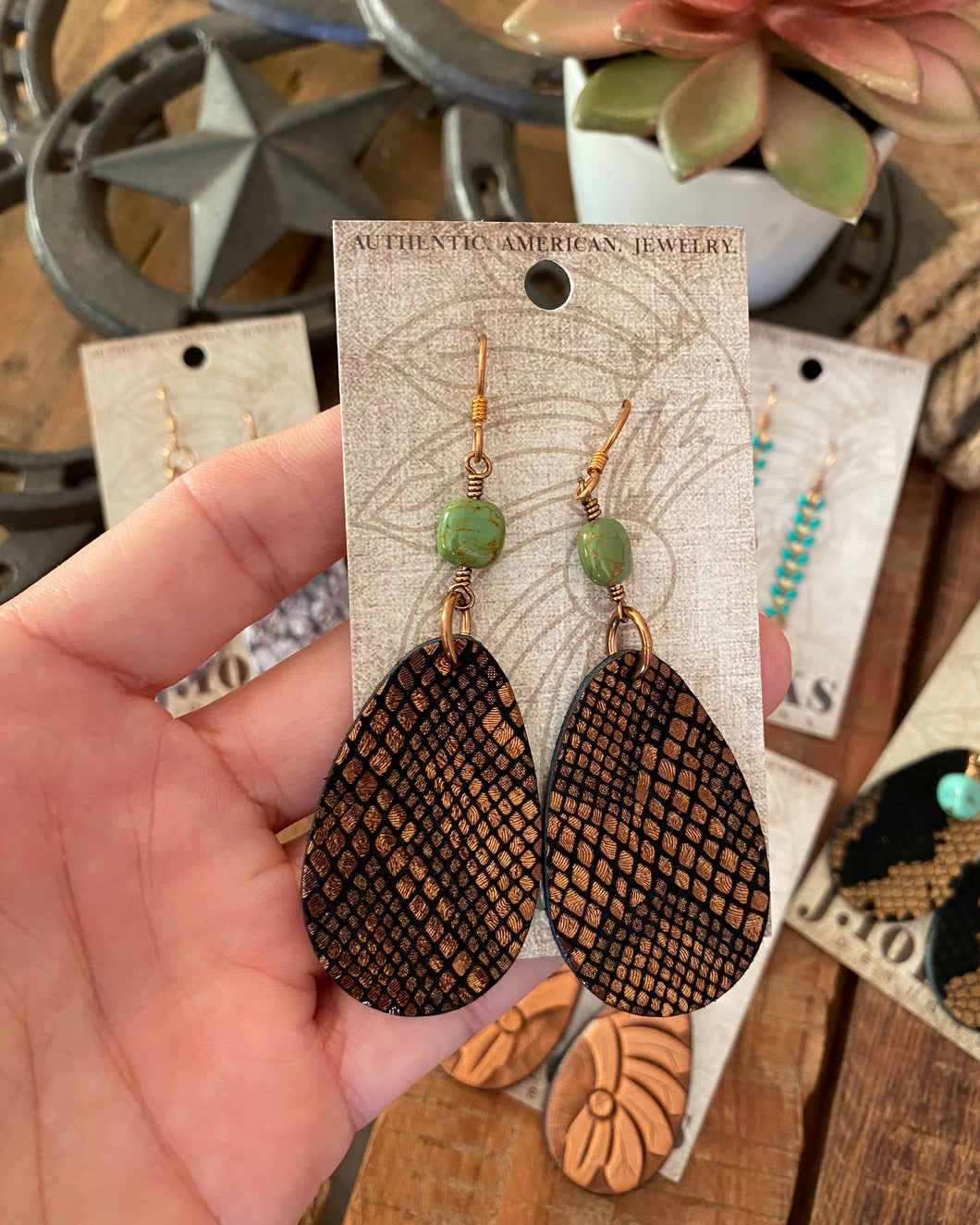 JForks Design Metallic Bronze Snake Print Teardrop w/ Turquoise Earrings