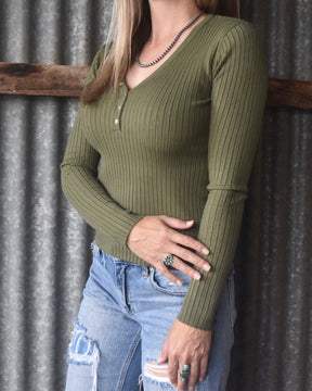 Olive Long Sleeve Ribbed Top