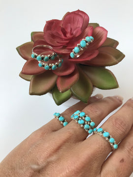 5 Stone Turquoise Sterling Silver Ring