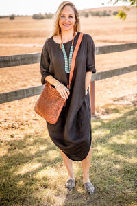 Luxe Linen Scallop Dress - Black